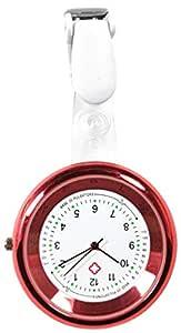 Ellemka – sjuksköterska kvinnor män unisex   fickur analog   digitalt kvartsurverk   hängband av ABS plast clip   NS-2103 pulsvåg röd röd