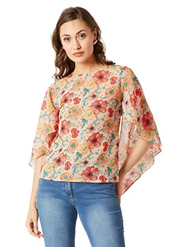 Miss Chase Women #39;s Beige Floral Flared Regular Top