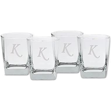 Culver Deep Etched Double Old Fashioned Glass, 13-Ounce, Monogrammed Letter-K, Set of 4