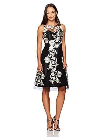 Sandra Darren Women S Petite Sleevless Embellished Mesh