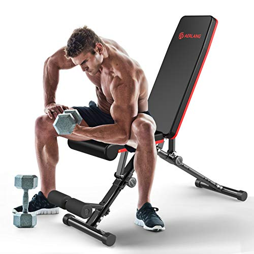 AERLANG Weight Bench, Adjustable Strength Training Bench for Full Body Workout, Fast Folding/Incline/Decline Utility…