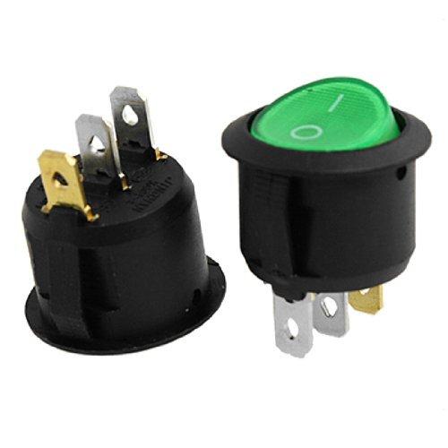 eDealMax a11123000ux0190 Iluminado ON-Off SPST Snap in interruptor Redondo Barco Rocker, 2 piezas, Verde
