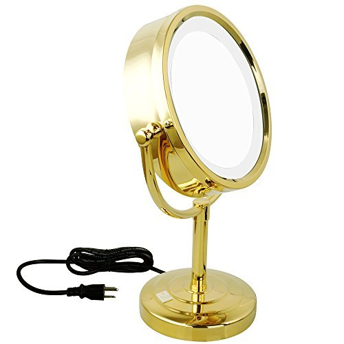 GURUN 8.5-Inch Tabletop Double-Sided LED Lighted Make-up Mirror with 7x Magnification,Gold Finish M2208DJ(8.5in,7x) by GURUN (Image #4)