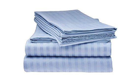 ITALIAN Prestige Collection Twin Striped Sheet Set, Light BLUE (Italian Bed)