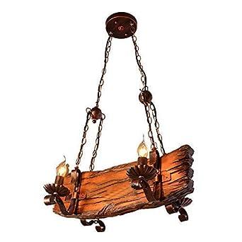 Ship - Lámpara de techo colgante diseñode barco pirata Hierro Tablero de Madera tallada Estilo Americano