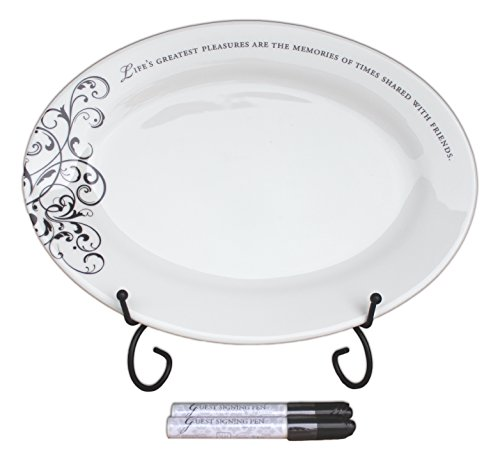 Anniversary Signature Plate (Bundle of Guest Signing Plate with Two Pens and Ornate Black Stand)