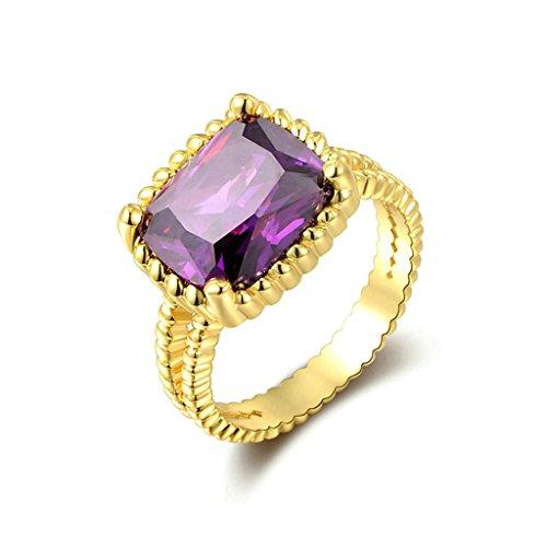 [Epinki Fashion Jewellry Gold Plated Womens Wedding Ring Purple Cubic Zirconia Gold Size 6] (Girls Jade Princess Costumes)