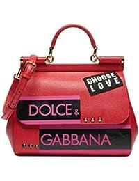 Miss Sicily Red Choose Love Studded Dauphine Leather Medium Bag Handbag Purse Tote
