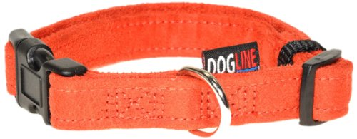 Wide Nylon Collar - Dogline 13 to 21-Inch Comfort Microfiber Soft Padded Pet Puppy Dog Collar with Nylon Reinforcement, Medium, 3/4-Inch Wide, Orange