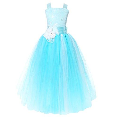 FAYBOX Pageant Wedding Flower Girl Dress Crossed Back Bow Feather Sash Fluffy Blue 4 (Flower Dress Wedding)