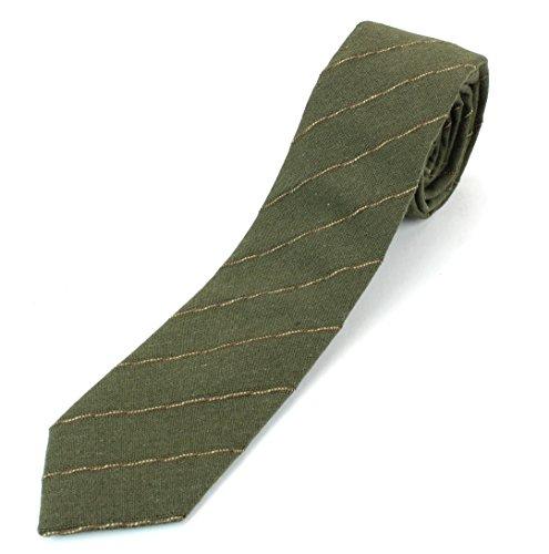Men's Linen Cotton Skinny Necktie Tie Light Beige/White/Brown Pinstripe Pattern - Olive