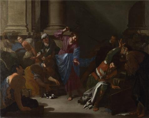 High Quality Polyster Canvas ,the Vivid Art Decorative Canvas Prints Of Oil Painting 'Bernardo Cavallino - Christ Driving The Traders From The Temple,about 1645-50', 30x38 Inch / 76x96 Cm Is Best For Garage Gallery Art And Home Artwork And Gifts -