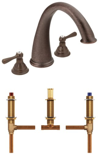 Moen T920ORB-4792 Kingsley Two-Handle High Arc Roman Tub Faucet with Valve, Oil Rubbed Bronze - 2 Valve Deck Mount Tub