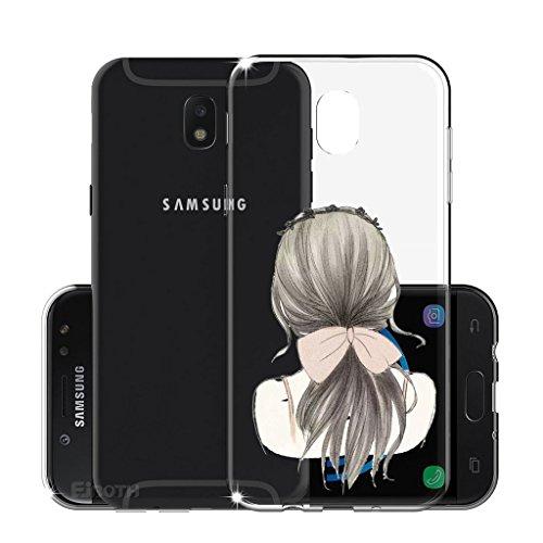 Funda para Samsung Galaxy J3 2017 SM-J330 (Sólo se aplica a la versión europea) , IJIA Transparente Arco Iris Unicornio TPU Silicona Suave Cover Tapa Caso Parachoques Carcasa Cubierta para Samsung Gal WM102