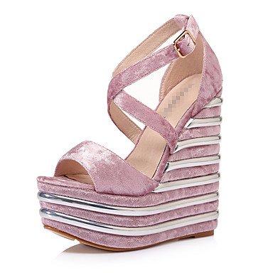 LvYuan Mujer-Tacón Cuña-Otro-Sandalias-Vestido Informal Fiesta y Noche-Terciopelo-Negro Morado Rosado claro Gris Oscuro light pink