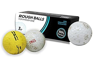 Rough Balls for a Rough Game Golf Balls – Funny Gag Gifts for Golfers ZERO Improvement GUARANTEED Includes 3 Golf Balls Novelty Golf Gifts Stocking Stuffers Novelty Golf Gift