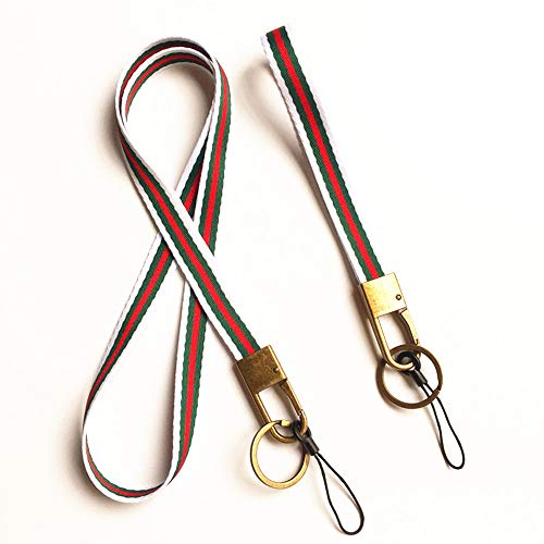Flat Woven Yarn Dyed Stripe Neck Lanyard Long Strap and Wrist Webbing Lanyard for Cell Phone,USB,KeyChain,Etc, With Bronze Hook and Ring.1 Set contains 1 Neck Strap and 1 Wrist Strap (White/green/red)
