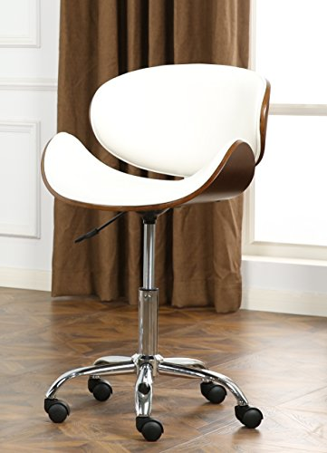Roundhill Furniture OF2011WH Soglio Modern Faux Leather Height Adjustable Swivel Office Chair, White