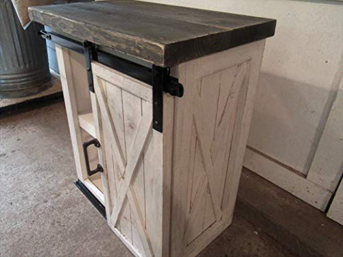 (Farmhouse Night stand WITH BARN DOOR Distressed nightstand with X on the doors and sides FarmhouseTX)