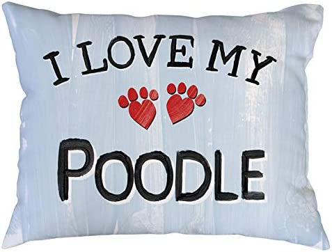 I Love My Poodle Fully Stuffed 10 x 14 Throw Pillow. Soft and Fluffy 100 Spun Polyester Pillow With Cute and Funny Heart Design Makes an Adorable Gift for Any Dog, Cat or Pet Owner