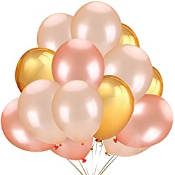 50Pcs Gold & Rose Gold & Champagne Gold Color Latex Party Balloons -Wedding Hawaii Graduation Birthday Party Decoration Supplies