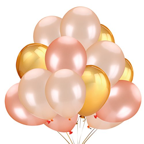 Sale!! 50Pcs Gold & Rose Gold & Champagne Gold Color Latex Party Balloons for Wedding Hawaii Graduat...
