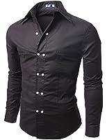 Doublju Men's Long Sleeve Double Button Casual Dress Shirt, Black