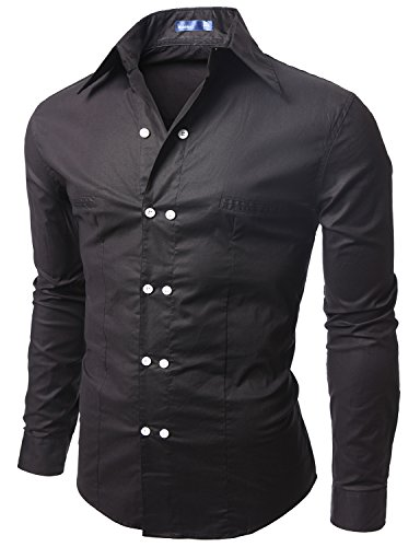 Doublju Men Casual Long Sleeve Double Button Dress Shirt BLACK,XL