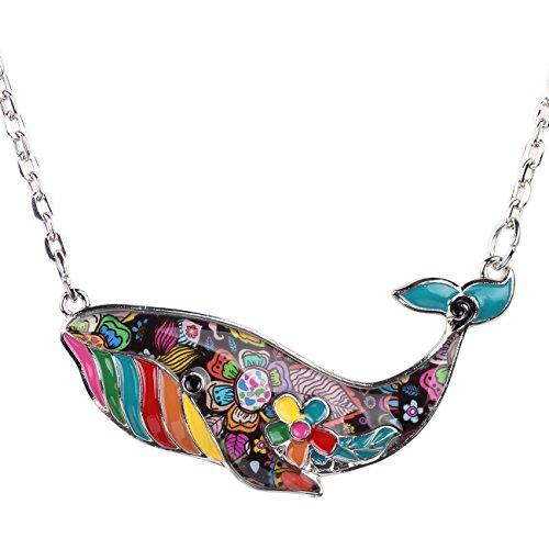 "BONSNY Signature Ocean Collection ""TESS"" Statement Alloy Chain Enamel WHALE Pendant Necklace 18"