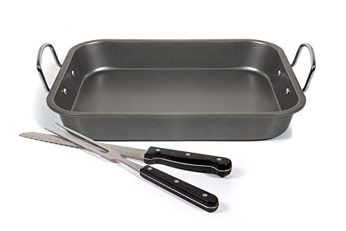 Fox Home Roasting Pan Set , Non-Stick, Carbon Steel Baking Dish With Bonus Serrated Meat Knife, Stainless Steel Fork by FOX HOME (Image #2)'