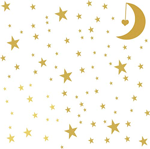 Crescent Decal - Stars Wall Decal (162Stars+1Moon+1Heart) Peel and Stick Removable Metallic Vinyl Wall Stickers Fits Bedroom Home Decoration-Gold