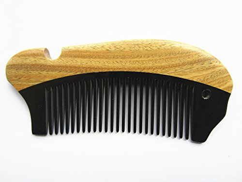 Myhsmooth Gb-byg2-nt Handmade Natural No Static Black Buffalo Horn with Sandalwood Pocket Comb (4.7