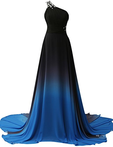 Plus Size Evening Dresses (JAEDEN Gradient Chiffon Formal Evening Dresses Long Party Prom Gown Blue Four US26W)