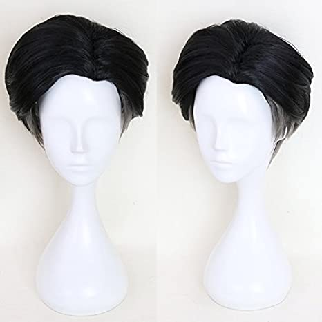 Ani·Lnc Wigs YURI!!! on ICE Katsuki Yuri  Slicked-Back Cosplay Wigs Short Straight Black Wigs Heat Resistant Wigs Yueniu