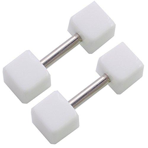 1 Paar Homme 4mm Goujons Dormeuses Blanc Jauges richeur Cube Faux Oreille Bouchon Fake Plugs FWDJ