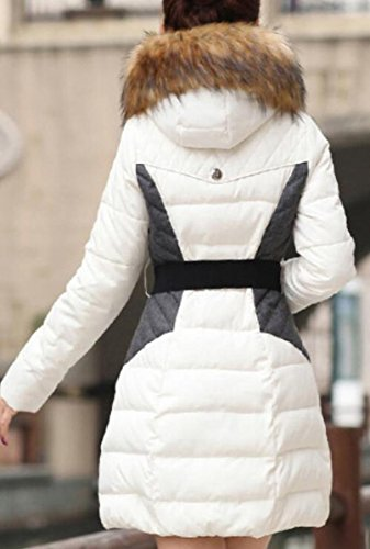 Hooded Belted White Coat Parka Outerwear today UK Faux Women's Winter Fur 4wxIZPgq