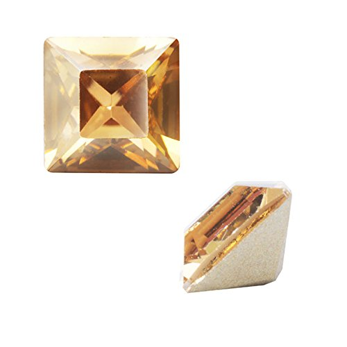 (Swarovski Crystal, 4428 Square Fancy Stone 2mm, 10 Pieces, Crystal Golden Shadow)