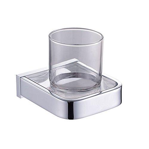 (RENIST Muniche Series-9401 Brass & Glass Chrome Toothbrush Holder Shelf Wall Mounted Single Tumbler Holder)
