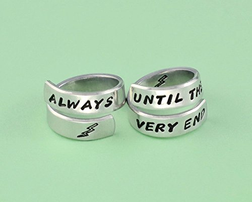 Always Until The Very End - Hand Stamped Aluminum Spiral Wrap Twist Ring Set of 2, Inspirational Quote Sisters Best Friends BFF Friendship Personalized Gift by Stamped Love