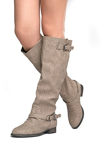 Breckelles Womens Outlaw-81 Knähöga Boot Beige - 81