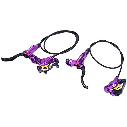 Zoom MTB Mountain Bike Hydraulic Disc Brake levers Calipers Front & Rear Set (Purple) (Xt Hydraulic Disc Brake Levers)