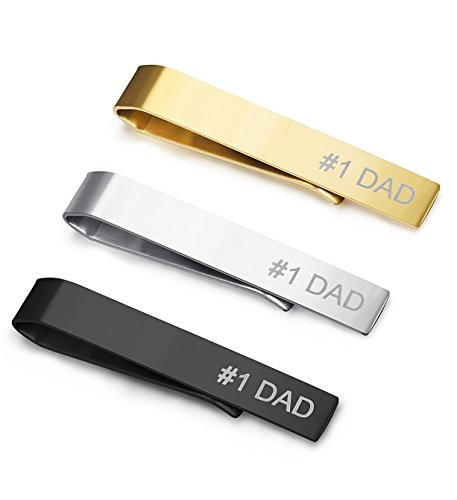 Necktie Dad (LOYALLOOK 3pcs Set #1 Dad Stainless Steel Classic Tie Bar Clip for Dad, Father Day's Gift)