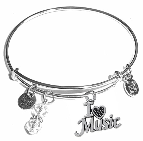 Hidden Hollow Beads Message Charm (84 Options) Expandable Wire Bangle Women's Bracelet, in The Popular Style, Comes in A Gift Box! (I Love Music) (Valentine's Day Message For Best Friend)