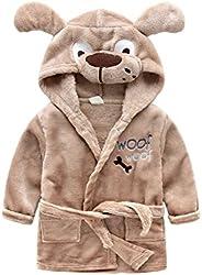 Feicuan Baby Cartoon Bathrobe Wrap Sleepwear Flannel Hooded 0-6 Years Old Kids