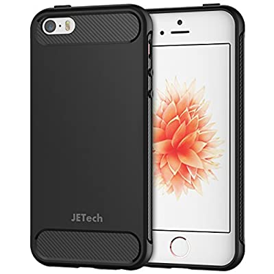 JETech Case for iPhone SE iPhone 5s iPhone 5 Protective Cover with Shock-Absorption and Carbon Fiber Design (Black) from JETech