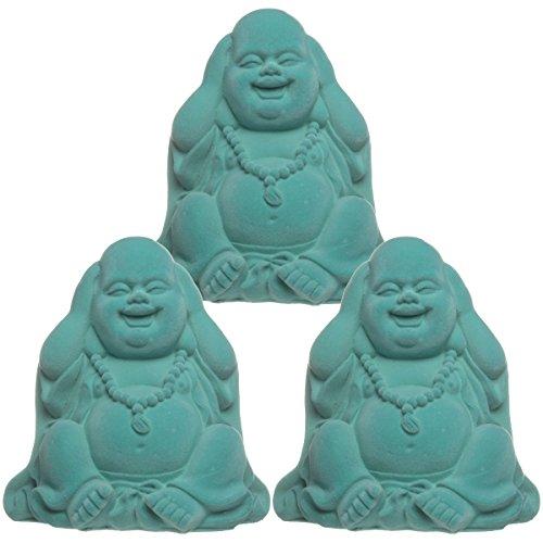 (DG Home Goods 3 Pack Neon Velvet Laughing Sitting Buddha Figurines See Hear Speak No Evil Zen Statues)
