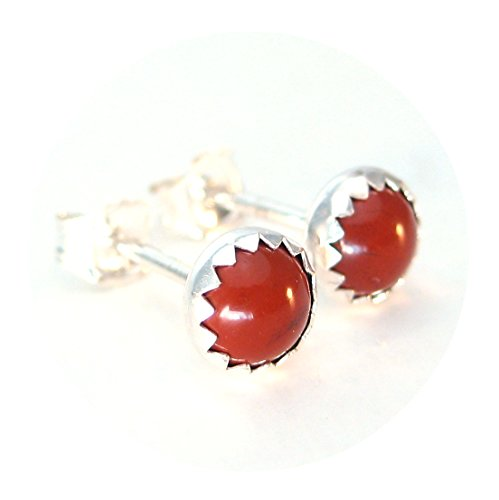 Red Jasper Stud Earrings 5mm Round in Sterling Silver