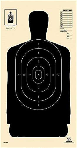 Official NRA B-29 Police Silhouette Shooting Targets, 14''x 22'' Paper Shooting Target, Indoor and Outdoor Target, Great Value Targets, 25 Yard Police Pistol Silhouette (Black, 20)