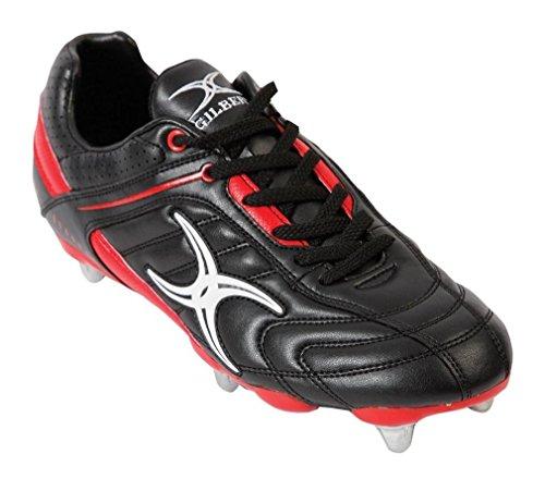 GILBERT Sidestep Barbarian 6 Stud Chaussures de Rugby pour Enfant, Noir/Rouge, 37