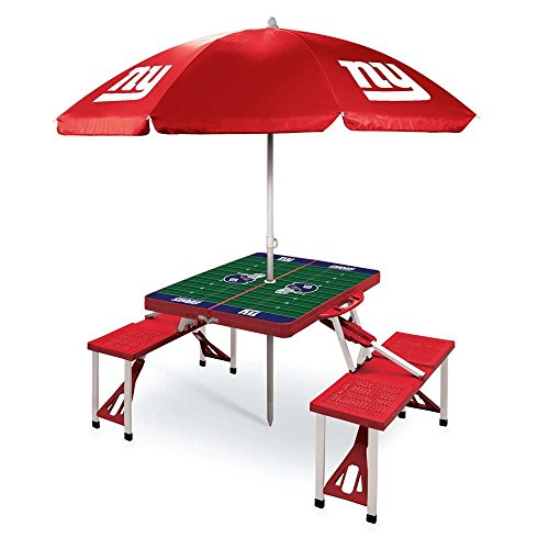 NFL New York Giants Picnic Table Sport with Umbrella Digital Print, One Size, Red by PICNIC TIME